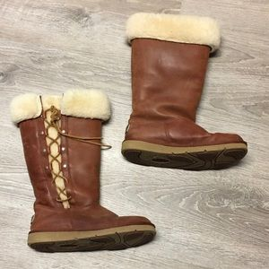 UGG Brown Leather Lace Up Boots Size 8